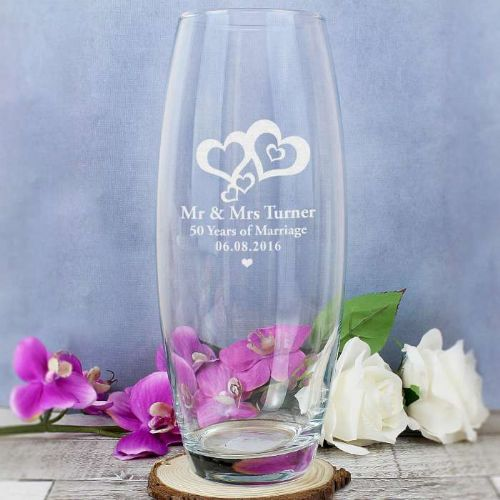Personalised Hearts Bullet Vase